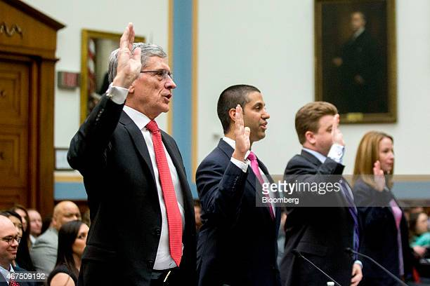 Thomas Tom Wheeler chairman of the Federal Communications Commission from left Ajit Pai commissioner at the FCC Joshua Wright commissioner at the...