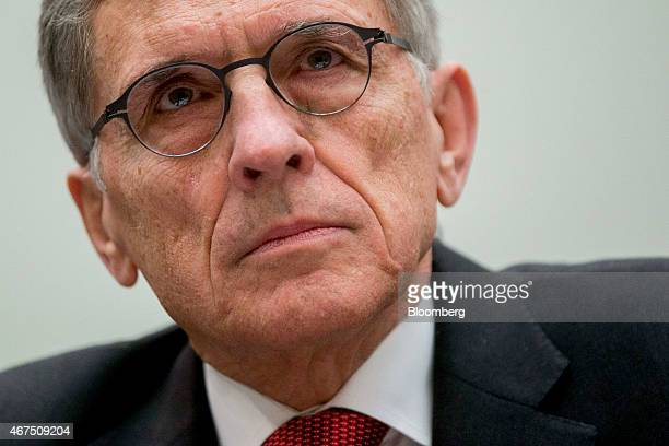 Thomas Tom Wheeler chairman of the Federal Communications Commission listens during a House Judiciary Committee hearing in Washington DC US on...