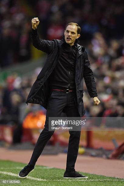 Thomas Tuchel coach of Borussia Dortmund celebrates during the UEFA Europa League quarter final second leg match between Liverpool and Borussia...