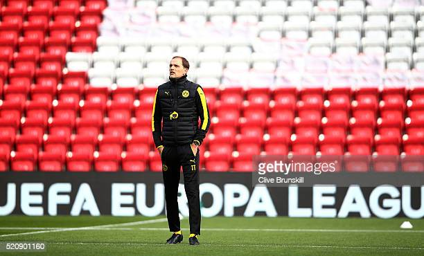 Thomas Tuchel Head Coach of Borussia Dortmund looks on during a training session ahead of the UEFA Europa League quarter final between Liverpool and...