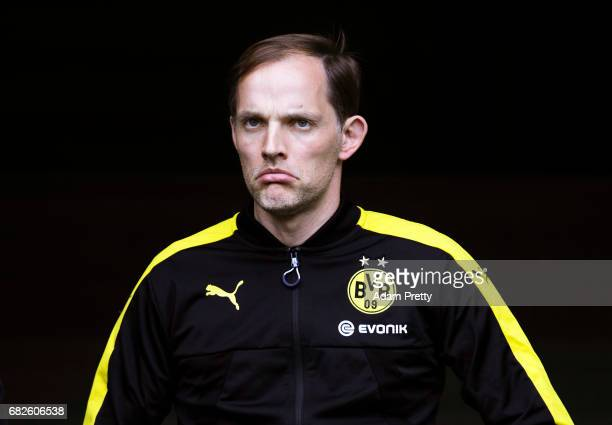 Thomas Tuchel head coach of Borussia Dortmund walks onto the pitch before the Bundesliga match between FC Augsburg and Borussia Dortmund at WWK Arena...