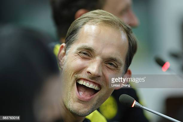 Thomas Tuchel head coach of Dortmund attends a press conference for 2016 International Champions Cup match between Manchester City and Borussia...