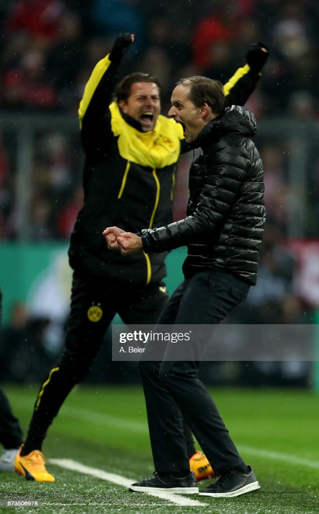 Thomas Tuchel, head coach of Dortmund celebrates victory after the DFB Cup semi final match between FC Bayern Muenchen and Borussia Dortmund at Allianz Arena on April 26, 2017 in Munich, Germany.