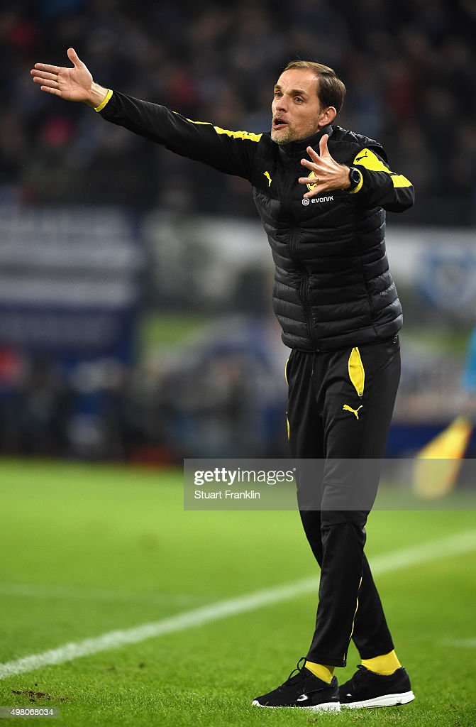 Thomas Tuchel, head coach of Dortmund reacts during the Bundesliga match between Hamburger SV and Borussia Dortmund at Volksparkstadion on November 20, 2015 in Hamburg, Germany.