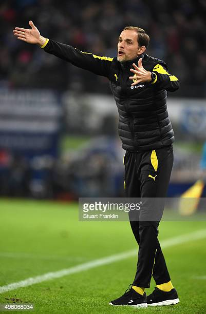 Thomas Tuchel head coach of Dortmund reacts during the Bundesliga match between Hamburger SV and Borussia Dortmund at Volksparkstadion on November 20...