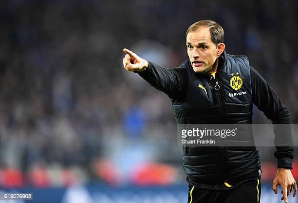 Thomas Tuchel head coach of Dortmund shouts during the Bundesliga match between Borussia Dortmund and FC Schalke 04 at Signal Iduna Park on October...