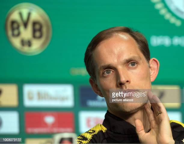 Thomas Tuchel head coach of German Bundesliga soccer club Borussia Dortmund attends a press conference on theGerman DFBCup final at the Olympic...