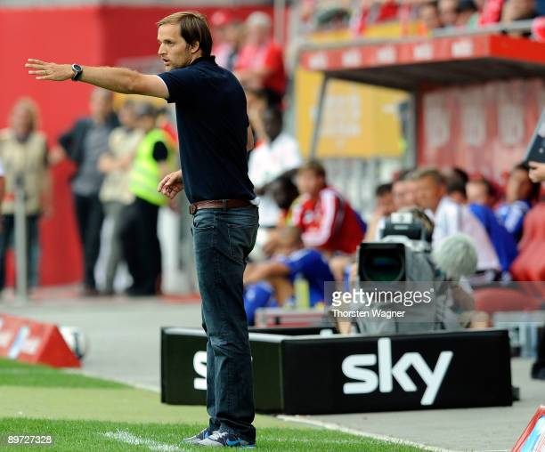 Thomas Tuchel, head coach of Mainz 05 infront of a camera from German television SKY, seen during the Bundesliga match between FSV Mainz 05 and Bayer...