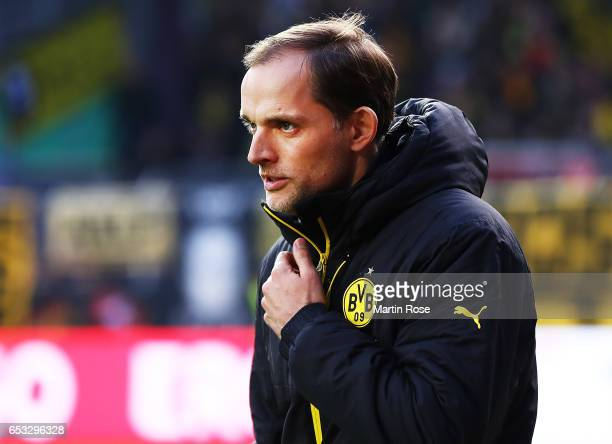 Thomas Tuchel head coach of of Borussia Dortmund before the DFB Cup quarter final between Sportfreunde Lotte and Borussia Dortmund at Sportpark am...
