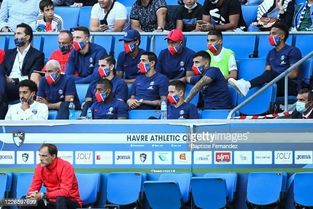 Thomas TUCHEL head coach of Paris Saint Germain MARQUINHOS of Paris Saint Germain Keylor NAVAS of Paris Saint Germain Ander HERRERA of Paris Saint...