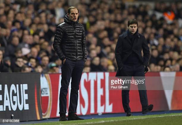 Thomas Tuchel manager of Borussia Dortmund and Mauricio Pochettino manager of Tottenham Hotspur look on during the UEFA Europa League round of 16...