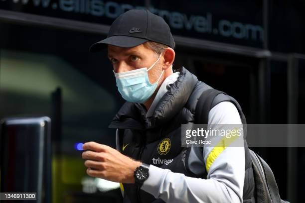 Thomas Tuchel, Manager of Chelsea arrives at the stadium prior to the Premier League match between Brentford and Chelsea at Brentford Community...