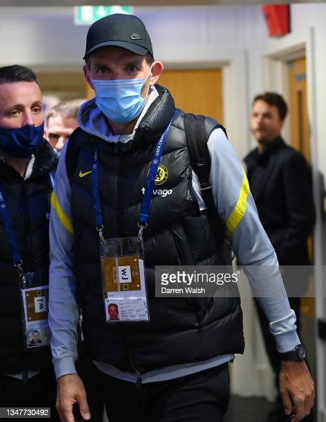 Thomas Tuchel, Manager of Chelsea arrives at the stadium prior to the UEFA Champions League group H match between Chelsea FC and Malmo FF at Stamford...