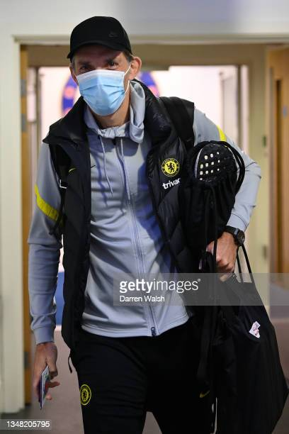 Thomas Tuchel, Manager of Chelsea arrives at the stadium prior to the Premier League match between Chelsea and Norwich City at Stamford Bridge on...