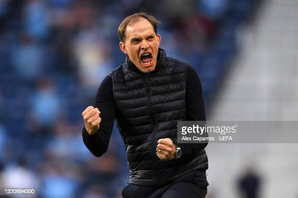 Thomas Tuchel, Manager of Chelsea celebrates after their side's first goal scored by Kai Havertz during the UEFA Champions League Final between...