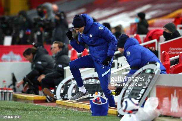 Thomas Tuchel, Manager of Chelsea celebrates following his team's victory in the Premier League match between Liverpool and Chelsea at Anfield on...