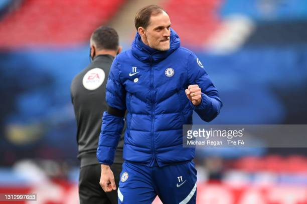 Thomas Tuchel, Manager of Chelsea celebrates following his team's victory in the Semi Final of the Emirates FA Cup match between Manchester City and...