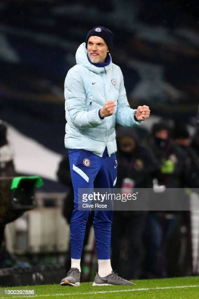 Thomas Tuchel, Manager of Chelsea celebrates following the Premier League match between Tottenham Hotspur and Chelsea at Tottenham Hotspur Stadium on...