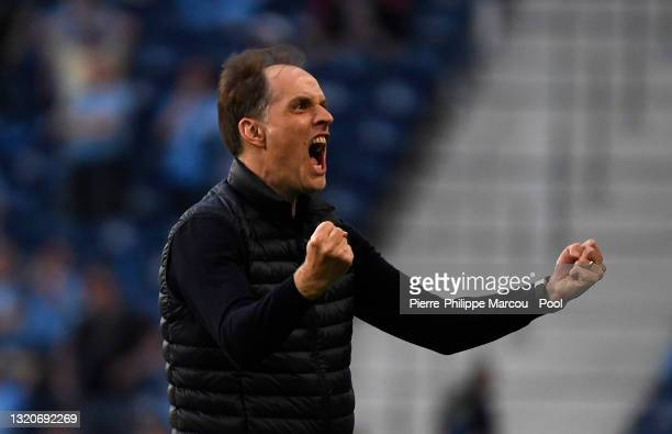 Thomas Tuchel, Manager of Chelsea celebrates his team's first goal scored by Kai Havertz during the UEFA Champions League Final between Manchester...