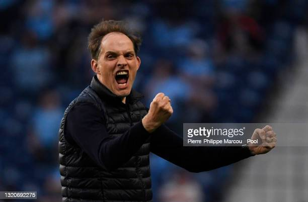 Thomas Tuchel, Manager of Chelsea celebrates his team's first goal during the UEFA Champions League Final between Manchester City and Chelsea FC at...