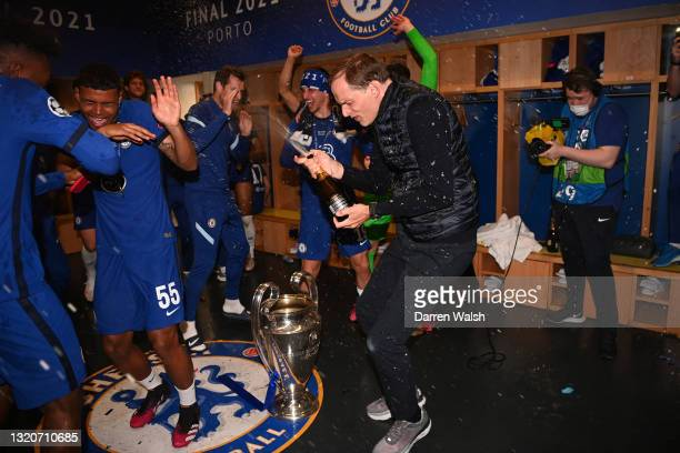 Thomas Tuchel, Manager of Chelsea celebrates in the dressing room after winning the UEFA Champions League Final between Manchester City and Chelsea...