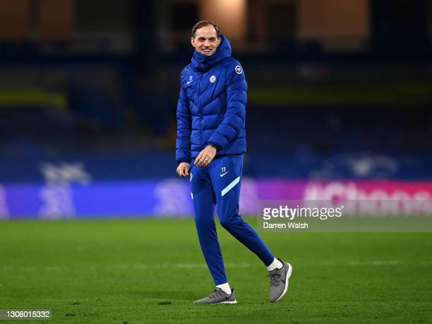 Thomas Tuchel, Manager of Chelsea celebrates victory after the Premier League match between Chelsea and Everton at Stamford Bridge on March 08, 2021...