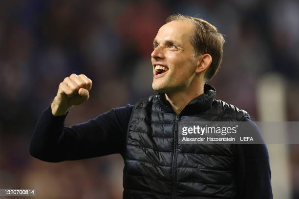 Thomas Tuchel, Manager of Chelsea celebrates victory in the UEFA Champions League Final between Manchester City and Chelsea FC at Estadio do Dragao...