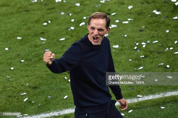 Thomas Tuchel, Manager of Chelsea celebrates victory in the UEFA Super Cup 2021 match between Chelsea FC and Villarreal CF at the National Football...