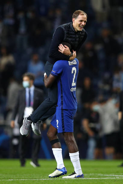 Thomas Tuchel, Manager of Chelsea celebrates with Antonio Ruediger of Chelsea following the UEFA Champions League Final between Manchester City and...