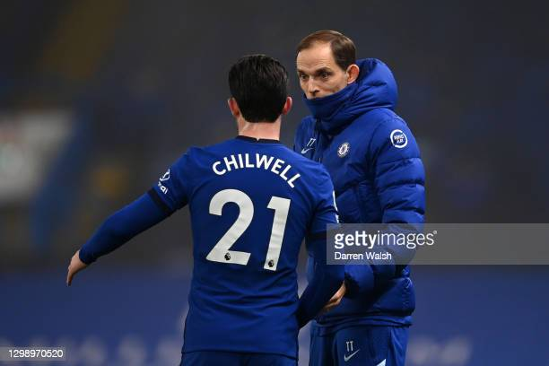 Thomas Tuchel, Manager of Chelsea chats with Ben Chilwell during the Premier League match between Chelsea and Wolverhampton Wanderers at Stamford...