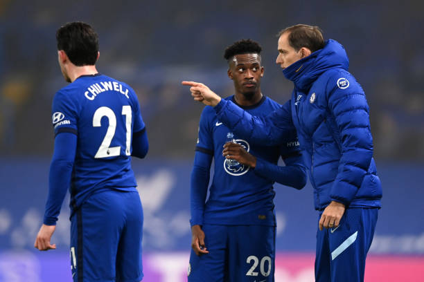Thomas Tuchel, Manager of Chelsea chats with Callum Hudson-Odoi during the Premier League match between Chelsea and Wolverhampton Wanderers at...