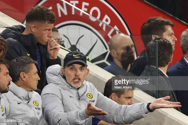 Thomas Tuchel manager of Chelsea during the Premier League match between Brentford and Chelsea at Brentford Community Stadium on October 16, 2021 in...