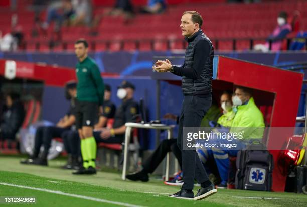 Thomas Tuchel, Manager of Chelsea FC reacts during the UEFA Champions League Quarter Final Second Leg match between Chelsea FC and FC Porto at...