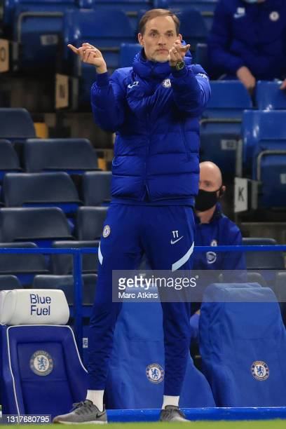 Thomas Tuchel, Manager of Chelsea gives his team instructions during the Premier League match between Chelsea and Arsenal at Stamford Bridge on May...