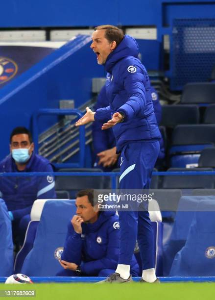 Thomas Tuchel, Manager of Chelsea gives instructions to their side during the Premier League match between Chelsea and Arsenal at Stamford Bridge on...