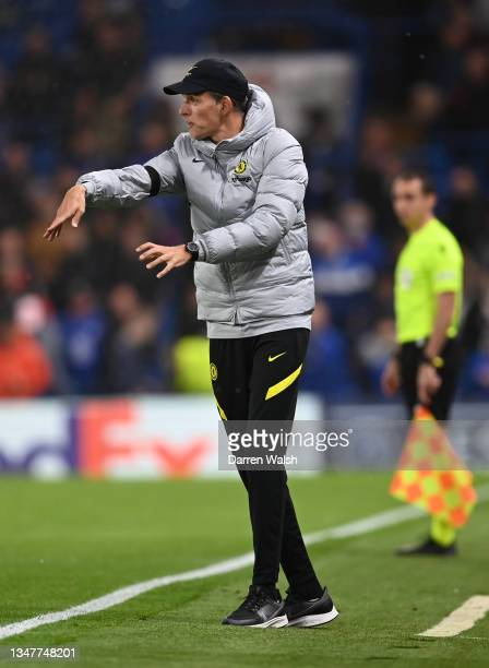 Thomas Tuchel, Manager of Chelsea gives their team instructions during the UEFA Champions League group H match between Chelsea FC and Malmo FF at...