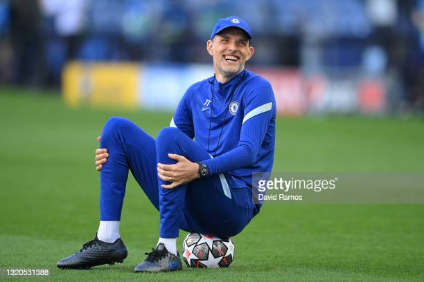 Thomas Tuchel, Manager of Chelsea looks on during the Chelsea FC Training Session ahead of the UEFA Champions League Final between Manchester City FC...