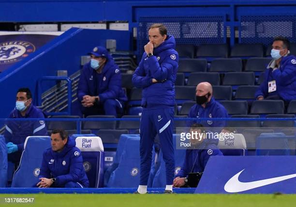 Thomas Tuchel, Manager of Chelsea looks on during the Premier League match between Chelsea and Arsenal at Stamford Bridge on May 12, 2021 in London,...