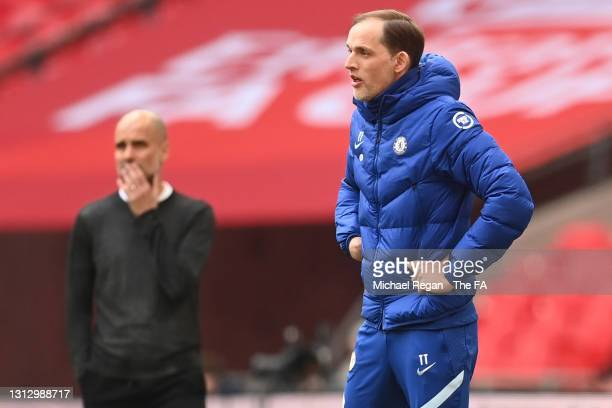 Thomas Tuchel, Manager of Chelsea looks on during the Semi Final of the Emirates FA Cup match between Manchester City and Chelsea FC at Wembley...
