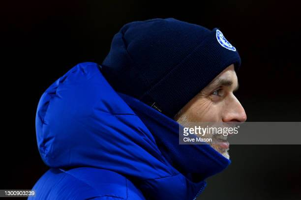 Thomas Tuchel, Manager of Chelsea looks on following the Premier League match between Sheffield United and Chelsea at Bramall Lane on February 07,...
