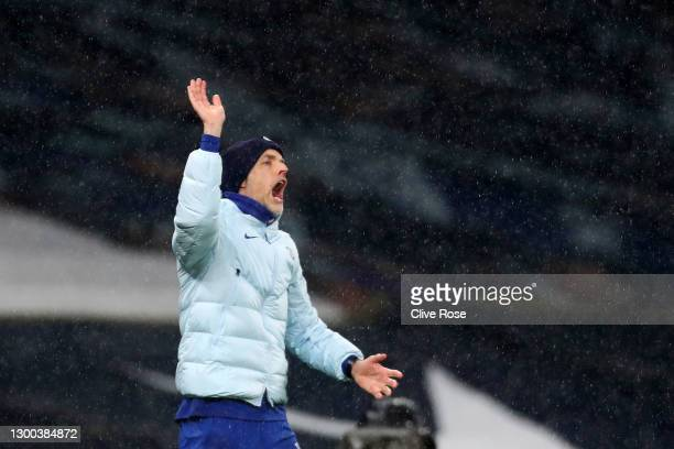 Thomas Tuchel, Manager of Chelsea reacts during the Premier League match between Tottenham Hotspur and Chelsea at Tottenham Hotspur Stadium on...