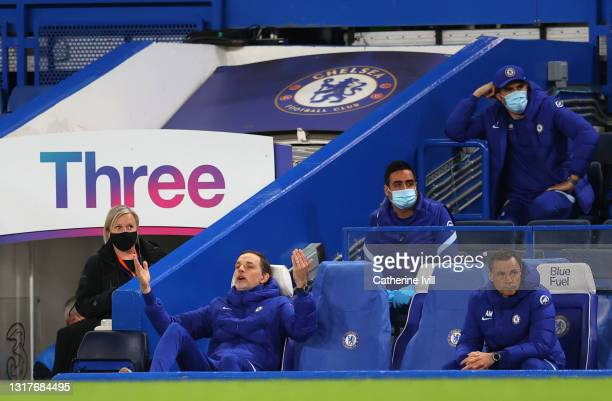 Thomas Tuchel, Manager of Chelsea reacts during the Premier League match between Chelsea and Arsenal at Stamford Bridge on May 12, 2021 in London,...