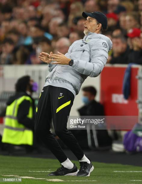 Thomas Tuchel, Manager of Chelsea reacts during the Premier League match between Brentford and Chelsea at Brentford Community Stadium on October 16,...