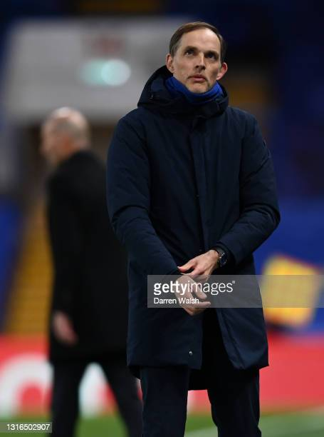 Thomas Tuchel, Manager of Chelsea reacts during the UEFA Champions League Semi Final Second Leg match between Chelsea and Real Madrid at Stamford...