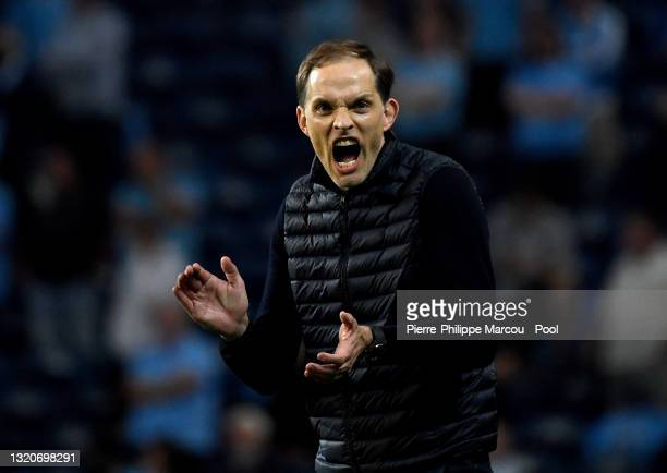 Thomas Tuchel, Manager of Chelsea reacts during the UEFA Champions League Final between Manchester City and Chelsea FC at Estadio do Dragao on May...