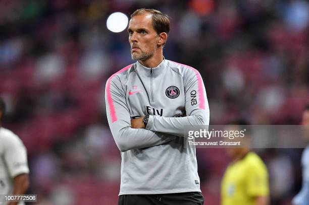 Thomas Tuchel Manager of Paris Saint German looks during the International Champions Cup match between Paris Saint Germain and Clu b de Atletico...