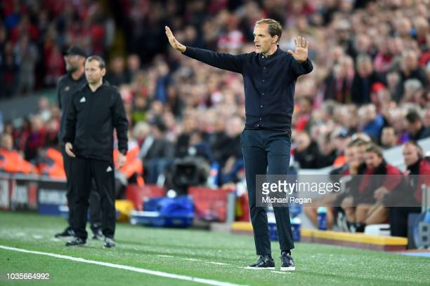 Thomas Tuchel manager of Paris SaintGermain gives his team instructions during the Group C match of the UEFA Champions League between Liverpool and...