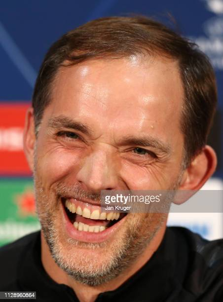 Thomas Tuchel Manager of Paris SaintGermain laughs during a Paris SaintGermain press conference at Old Trafford on February 11 2019 in Manchester...