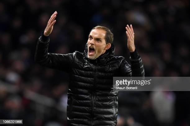 Thomas Tuchel Manager of Paris SaintGermain reacts during the UEFA Champions League Group C match between Paris SaintGermain and Liverpool at Parc...