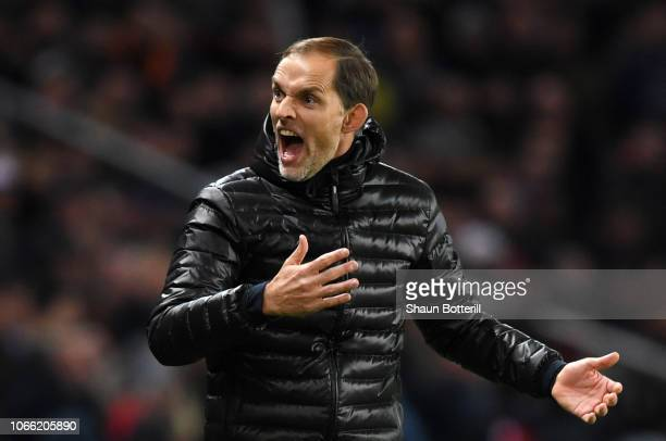 Thomas Tuchel Manager of Paris SaintGermain reacts during the UEFA Champions League Group C match between Paris SaintGermain and Liverpool at Parc...